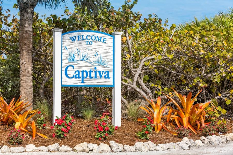 Town sign of Captiva Island Florida
