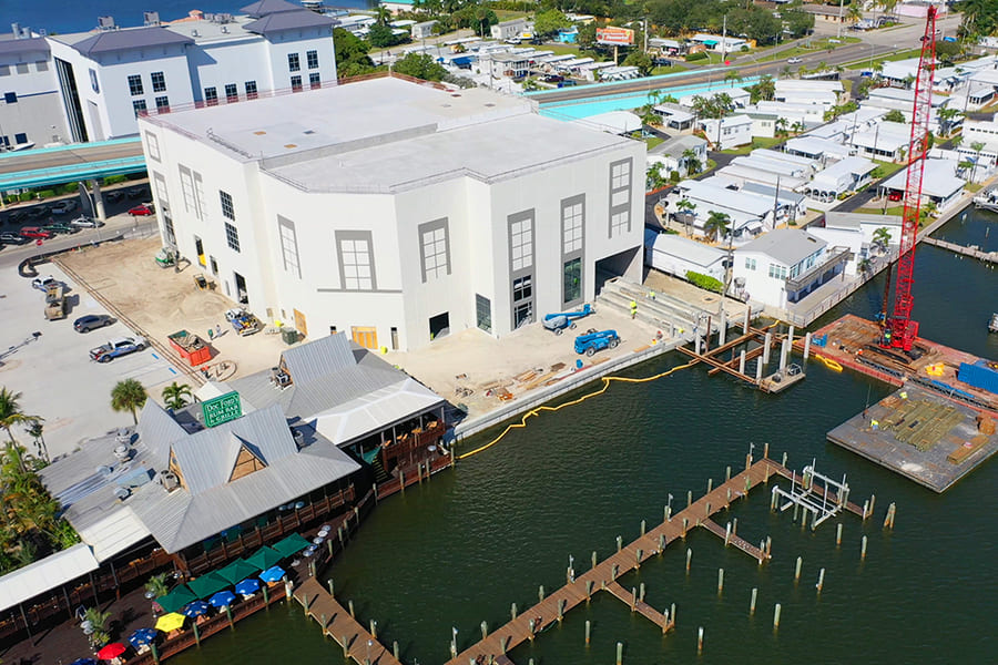 Gulf Star Marina harbour in Fort Myers Beach from above
