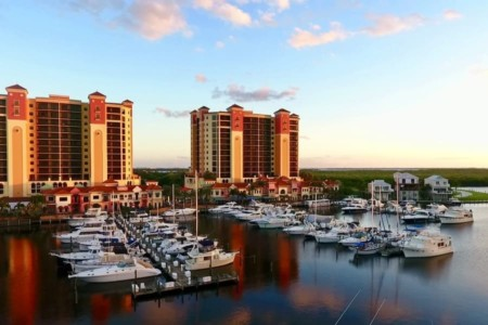 Marina of Cape Coral with boats in the afternoon