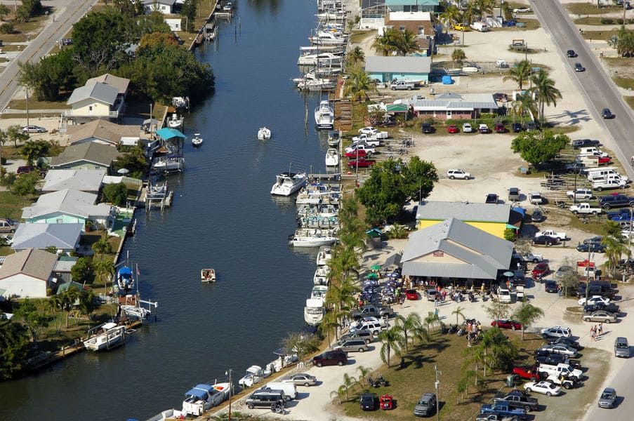 Monroe Canal Marina harbour on Pine Island from above