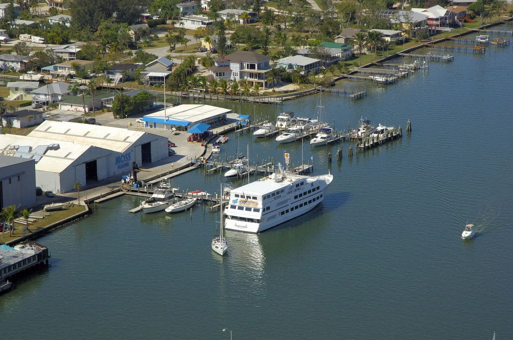 Moss Marina harbour in Fort Myers Beach from above