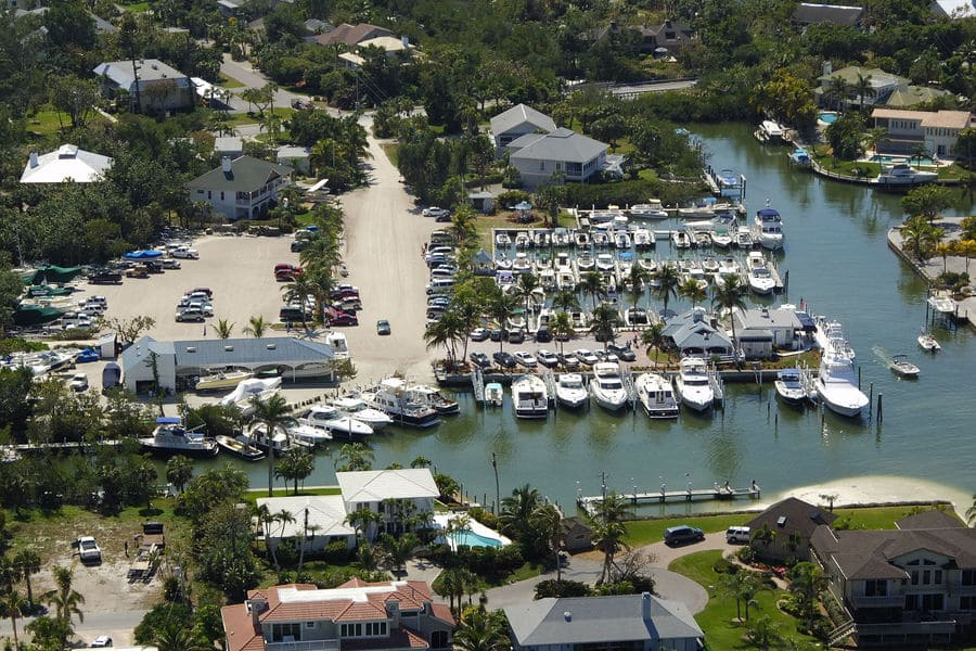 Sanibel Marina harbour on Sanibel Island from above