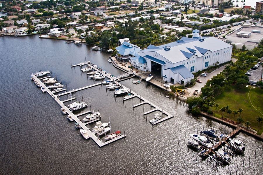 Snook Bight Marina harbour in Fort Myers Beach from above