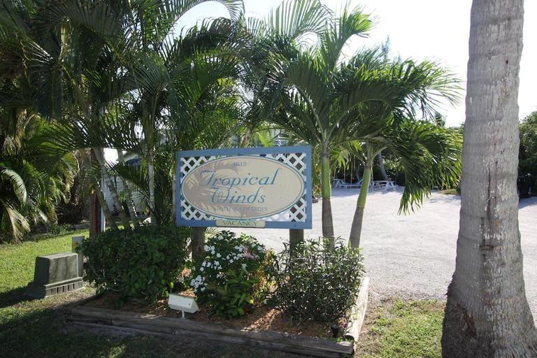 Entrance area of the Tropical Winds Beachfront Motel on Sanibel Island